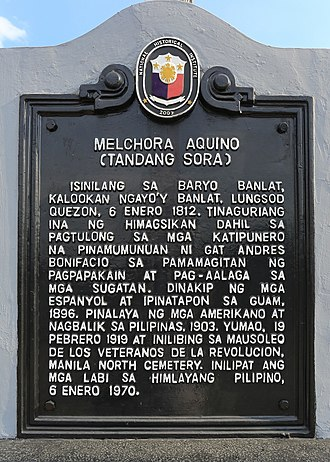 Melchora Aquino - The historical marker installed by the National Historical Commission of the Philippines at the Melchora Aquino Shrine in Quezon City in 2012.