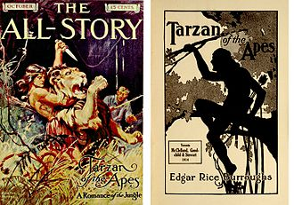 Tarzan - Left, first appearance in The All-Story, October, 1912. Right, first Canadian edition by McClelland, Goodchild, and Stewart, Toronto, 1914.