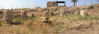 The ruins of the temple of Hathor of Memphis Temple d'Hathor pano.jpg