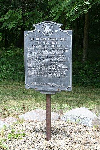 Patton Township, Ford County, Illinois - Sign marking Ten Mile Grove