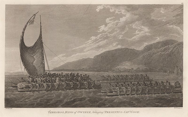 Tereoboo, King of Owyhee, bringing presents to Captain Cook by John Webber.jpg