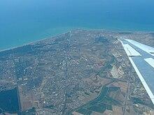 Vista aerea della foce del Tevere