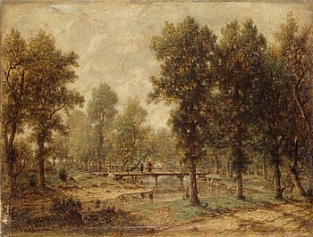 Théodore Rousseau - Landscape with a Bridge - ...