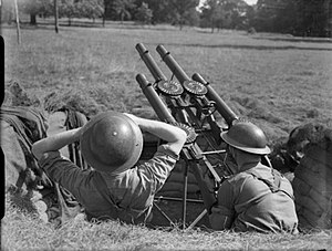 29th (East Anglian) Anti-Aircraft Brigade - Quadruple Lewis gun LAA mounting, 1941