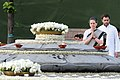 The Chairperson, National Advisory Council, Smt. Sonia Gandhi paying homage at the Samadhi of former Prime Minister, Late Shri Rajiv Gandhi on his 21st Anniversary of Martyrdom, at Vir Bhoomi, in Delhi on May 21, 2012.jpg