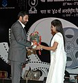The Chief Guest and renowned film actor Shri Mamooty being welcomed at the closing ceremony of the 40th IFFI-2009 at Panaji, Goa on December 03, 2009.jpg
