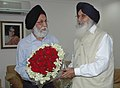 The Chief Minister of Punjab, Shri Parkash Singh Badal called on the Minister of State (Independent Charge) for Youth Affairs & Sports, Dr. M.S. Gill, in New Delhi on June 11, 2008.jpg