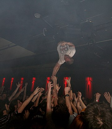 Greg Puciato hanging upside down during a Dillinger show in 2008. The Dillinger Escape Plan-1.jpg