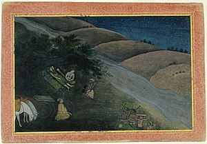 Exile - The First Night in Exile - This painting comes from a celebrated series illustrating one of Hinduism's great epics, the Ramayana. It tells the story of prince Rama, who is wrongly exiled from his father's kingdom, accompanied only by his wife and brother.