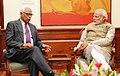 The Governor of Jammu and Kashmir, Shri N.N. Vohra calling on the Prime Minister, Shri Narendra Modi, in New Delhi on January 31, 2015.jpg