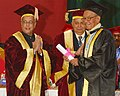 The President, Shri Pranab Mukherjee conferring the Doctor of Literature to Shri L. Birendrakumar Singh on the occasion of the 14th Convocation of Manipur University, at Canchipur, in Imphal, Manipur on April 29, 2014.jpg