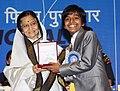 The President, Smt. Pratibha Devisingh Patil presenting the Rajat Kamal Award to Master Harsh Mayar for the Best Child Artist (I Am Kalam), at the 58th National Film Awards function, in New Delhi on September 09, 2011.jpg