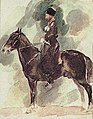 The Soviet Union 1988 CPA 5973 stamp crop. Horse Breeding Museum. 'Konvoets' (Kabardin stallion) by Vrubel, 1882.jpg
