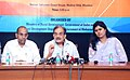 "The Union Minister for Rural Development, Panchayati Raj, Drinking Water and Sanitation, Shri Chaudhary Birender Singh addressing a Press Conference on the ""Sansad Adarsh Gram Yojana"".jpg"