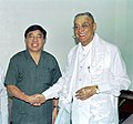 The Union Minister of Tribal Affairs and Development of North East, Shri P. R. Kyndiah with the Chief Minister of Arunachal Pradesh, Shri Gegong Apang, in New Delhi on August 26, 2005.jpg
