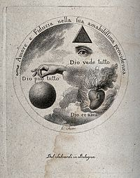 The eye of God, the hand of God and the Sacred Heart. Stippl Wellcome V0035661.jpg