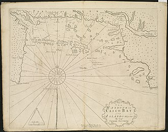 Cyprian Southack - A 1720 chart by Southack, depicting Casco Bay, Maine
