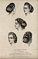 The heads of four women with plaited and ringletted hair dre Wellcome V0019882ER.jpg
