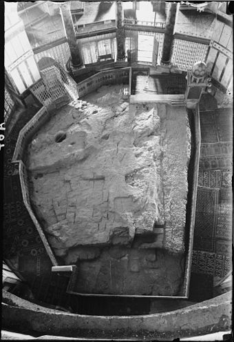 The Foundation Stone viewed from the dome. Photograph was taken between 1900 and 1920, before the removal of the surrounding iron grill. The rock of the Dome of the Rock Corrected.jpg