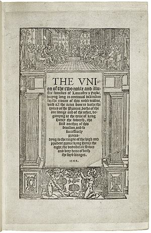 Henry VI, Part 1 - Title page from the 1550 edition of Edward Hall's The Union of the Two Noble and Illustre Families of Lancaster and York.