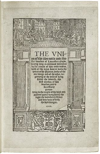 Henry VI, Part 3 - Title page from the 1550 edition of Edward Hall's The Union of the Two Noble and Illustre Families of Lancaster and York.