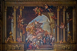 West wall of James Thornhill's Painted Hall at the Old Royal Naval College; 1707-1726.[106]