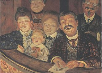 Farce - Petrov-Vodkin's painting of a theatre audience enjoying a farce.