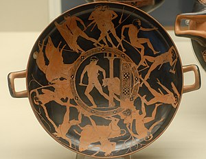 Theseus - The deeds of Theseus, on an Attic red-figured kylix, c. 440–430 BC (British Museum)