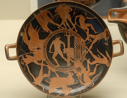 The deeds of Theseus, on an Attic red-figured kylix, c. 440-430 BC (British Museum) Theseus deeds BM E 84.JPG