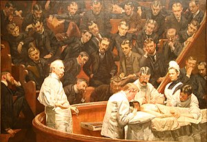 Operating theater - The Agnew Clinic, 1889, by Thomas Eakins, showing the tiered arrangement of observers watching the operation.