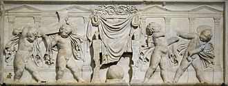 Saturn (mythology) - Relief held by the Louvre thought to depict the veiled throne of Saturn, either a Roman work of the 1st century AD or a Renaissance copy