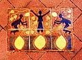 Tile on street depicting Aboriginal women gathering yams. Cooktown, Australia. 2005.jpg