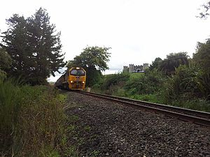 Kinleith Branch - DL-hauled freight passes Castle Pamela near Tirau