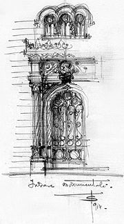 Sketch of a monumental entry. Extract from Toma T. Socolescu's sketches notebook.