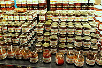 Sambal - Jars with sambal at the Tong Tong Fair in The Hague, Netherlands