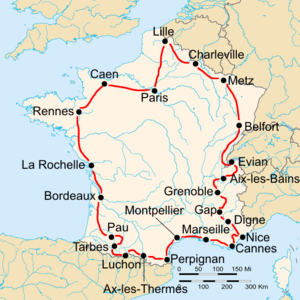 1933 Tour de France - Route of the 1933 Tour de France Followed clockwise, starting in Paris