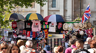 Tourism in London - A tourist stall selling various London and United Kingdom related souvenirs on the edge of Trafalgar Square on the Strand.