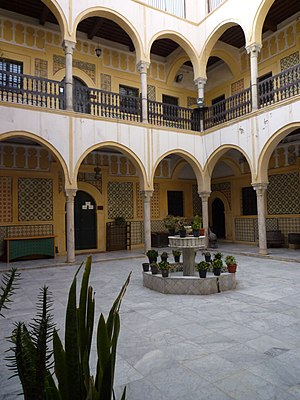 Turks in Libya - Courtyard of the Karamanly House Museum. The historic house was built by Yusuf Karamanli.