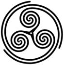 """Wheeled"" form of Triple Spiral or Triskelion symbol"