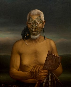Tewhatewha - Tukukino, 1878 by Gottfried Lindauer, oil on canvas. Gift of Mr H E Partridge, 1915. Auckland Art Gallery Toi o Tāmaki (1915/2/56)