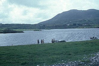 Renvyle - Tully Mountain and Renvyle Lough. Looking south from the shingle bank that separate the lough from the ocean.