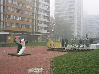 Tuzla - Retired citizens playing chess, a favorite pastime, in the western residential area of Slatina