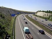 The M3 motorway cutting at Twyford Down.