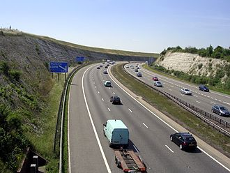 Roads in the United Kingdom - The M3 motorway cutting at Twyford Down
