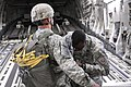 U.S. Army Master Sgt. Robert Edwards, right, with the 82nd Airborne Division conducts a jump master personnel inspection on a paratrooper inside a C17 Globemaster III aircraft, prior to insert jumping during 130531-A-HL144-104.jpg