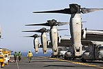 U.S. Navy sailors and Marines prepare to launch MV-22 Ospreys from the amphibious assault ship USS Kearsarge (LHD 3) as the ship operates in the Red Sea on June 30, 2013 130630-N-SB587-289.jpg