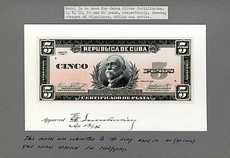 Máximo Gómez - Image: US BEP República de Cuba (progress proof) five silver pesos, 1936 (CUB 70b)