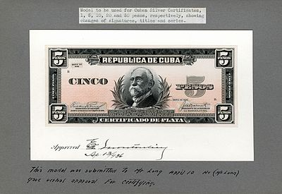 Gómez depicted on the artist/progress proof designed by the Bureau of Engraving and Printing for Cuban silver certificates (1936).