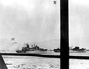 USS Curtiss (AV-4) and USS Medusa (AR-1) during the Pearl Harbor attack, 7 December 1941 (NH 96660)
