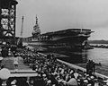 USS Franklin D. Roosevelt (CVA-42) arrives at the Puget Sound Naval Shipyard in March 1954.jpg
